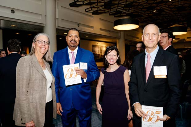 "From left, Susan Tucker Preston, Kerry Staton, Evelyn Knolle and Christopher Rahl are all smiles at the ""Celebrate Pro Bono"" awards at the Renaissance Hotel. (MVLS submitted photo)"