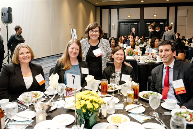 "From left, Tiffany A. Devonshire, Deb Seltzer, MVLS Executive Director Bonnie A. Sullivan, Harriet Robinson and Darren Margolis enjoy a conversation at the ""Celebrate Pro Bono"" awards at the Renaissance Hotel. (MVLS Submitted Photo)"