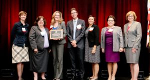 """Members of the University of Baltimore School of Law Civil Advocacy Clinic were presented with the MVLS Partnership Award during the """"Celebrate Pro Bono"""" awards at the Renaissance Hotel. (MVLS submitted photo)"""