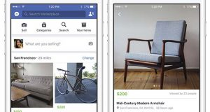 "These images provided by Facebook show smartphone screen grabs demonstrating Facebook's new ""Marketplace"" section. Facebook Inc. said Monday, Oct. 3, 2016, the most popular items people currently buy and sell on the service include furniture, cars and clothes. (Facebook via AP)"