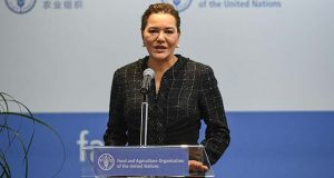 Princess Lalla Hasnaa of Morocco speaks at a summit for World Food Day at the United Nations Food and Agriculture Organization, in Rome, Italy, Friday, Oct. 14, 2016. (Alessandro Di Meo/ANSA via AP)