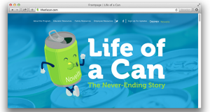 This screenshot depicts the Life of a Can website, created by Discovery Education to teach about aluminum recycling.