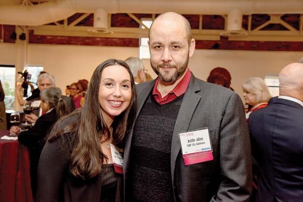 Light City Baltimore's Brooke Hall, left, and Justin Allen take time out for a photo during the Daily Record's 2016 Innovators of the Year event. (The Daily Record / Maximilian Franz)