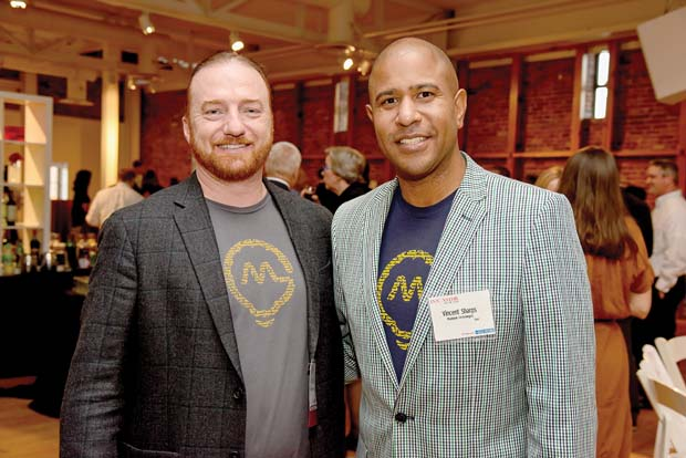 Mindgrub Technologies' Todd Marks, left, and Vincent Sharps were all smiles after winning an award at the Daily Record's 2016 Innovators of the Year event. (The Daily Record / Maximilian Franz)