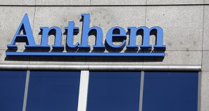 FILE - This Feb. 5, 2015 file photo shows the Anthem logo at the health insurer's corporate headquarters in Indianapolis. (AP Photo/Michael Conroy, File)