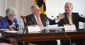 The Maryland Board of Public Works: from left, Treasurer Nancy Kopp, Gov. Larry Hogan, and Comptroller Peter Franchot.