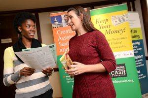 - The Baltimore CASH Campaign is using a grant from the Consumer Financial Protection Bureau to offer financial coaching to veterans. The program is led by a certified financial coach who is also a military spouse, Wyneca Pruett, left, seen with Sara Johnson, Director of Baltimore CASH Campaign.   (The Daily Record/ Maximilian Franz).