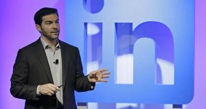 In this Sept. 22, 2016 file photo, LinkedIn CEO Jeff Weiner speaks during a product announcement at his company's headquarters in San Francisco.  LinkedIn, which calls itself the social network for professionals, is adding a service that provides members with pay information for a variety of jobs, including a break-down by such factors as location, industry, education and experience. It's based on anonymized data submitted by LinkedIn members, including details about base pay and other compensation, such as bonuses and stock grants.   (AP Photo/Eric Risberg)