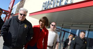 Gov. Larry Hogan and state Sen. Catherine Pugh tour West Baltimore near Mondawmin Mall following the 2015 riot. (File)