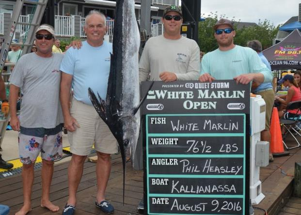 Phillip G. Heasley, second from left, poses with his now-disputed first-place white marlin in August in Ocean City during the White Marlin Open. (Photo: WhiteMarlinOpen.com)