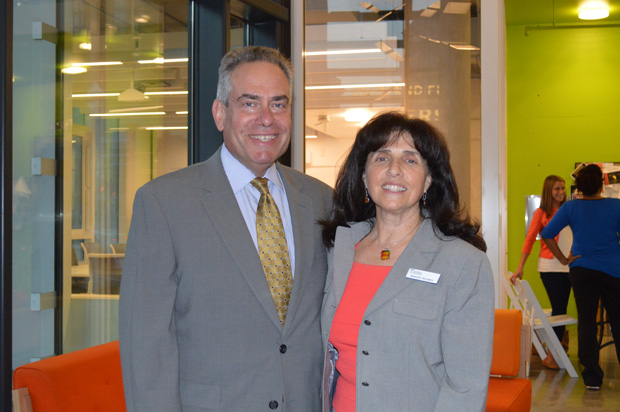 University of Baltimore School of Law Dean Ronald Weich, left, takes time out for a photo with Sharon Goldsmith, executive director of the Pro Bono Resource Center of Maryland during the Oct. 19 Pro Bono Connection. (Submitted photo by Elizabeth Grove)