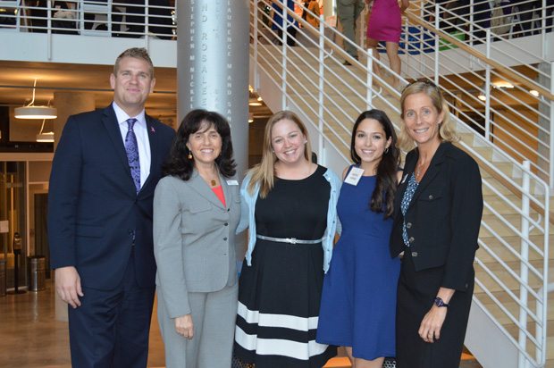 From left, Russell Radziack; Sharon Goldsmith, executive director of the Pro Bono Resource Center of Maryland; Emily Rogers, with the University of Baltimore; Kristen Sonday, the co-founder and chief operating officer of pro bono marketplace Paladin; and Dr. Jill Green, associate dean of the University of Baltimore School of Law, pose for a photo during the Oct. 19 Pro Bono Connection event. (Submitted photo by Elizabeth Grove)