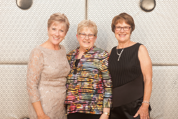 "From left, Sandy Guzewich, president of the Chesapeake Cancer Alliance, joins former CCA presidents and leadership volunteers Katherine ""Kitty"" Endslow Pickett and Kathy Welch at the Starnight Gala at the Baltimore Marriott Waterfront Hotel. (Submitted photo by Edwin Remsberg)"