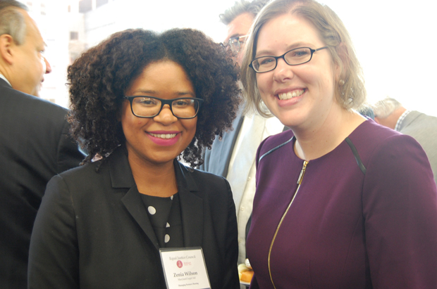 Maryland Legal Aid staff attorney Zenia Wilson, left, and Amy Petkovsek , the director of advocacy for pro bono and training, attended the Equal Justice Council's managing partners meeting. (Ashley Fails submitted photo)