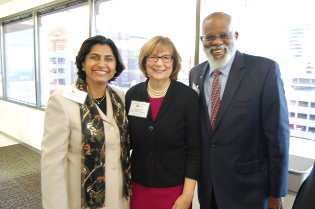 From left, guest speaker Sheela Murthy, from the Murthy Law Firm; the Hon. Mary Ellen Barbera, chief judge of the Maryland Court of Appeals; and Wilhelm H. Joseph Jr., the executive director of Maryland Legal Aid, take time out for a photo during the Equal Justice Council's managing partners meeting. (Ashley Fails submitted photo)