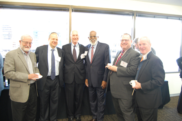 From left, Sanford D. Schreiber, of Blades & Rosenfeld P.A.; Alan F. M. Garten, of Fedder & Garten P.A.; Francis J. Gorman, of Gorman & Williams; ) Wilhelm H. Joseph Jr., the executive director of Maryland Legal Aid; Oren D. Saltzman, of Adelberg, Rudow, Dorf & Hendler LLC; and Thomas J.S. Waxter III, of Goodell DeVries, enjoy their time at the Equal Justice Council's managing partners meeting. (Ashley Fails submitted photo)