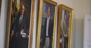 Portraits of past Maryland governors hang in the State House.