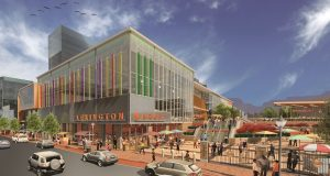 The view of the proposed Lexington Market redevelopment from the view looking west on Eutaw Street. (Courtesy Murphy & Dittenhafer Architects.)