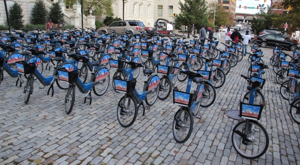 Bikes outside of City Hall in October before the ceremonial launch of the Baltimore Bike Share program. (Adam Bednar/The Daily Record)