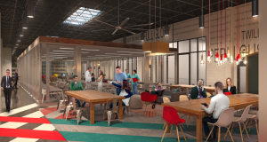 Rendering shows planned space Betamore plans to offer at City Garage for new programs. (Courtesy Betamore)