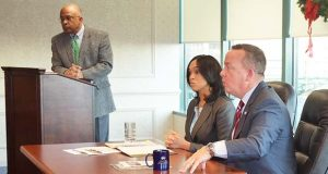 UB President Kurt Schmoke moderates a discussion with Baltimore City State's Attorney Marilyn Mosby and Baltimore City Police Chief Kevin Davis at the Greater Baltimore Committee offices Wednesday.  Submitted photo.