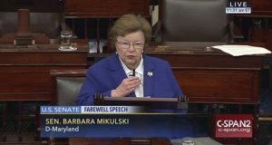 This image provided by C-SPAN2 shows Sen. Barbara Mikulski, D-Md. giving her farewell speech on the Senate floor on Capitol Hill in Washington, Wednesday, Dec. 7, 2016, after 24 years in the Senate. (C-SPAN2 via AP)
