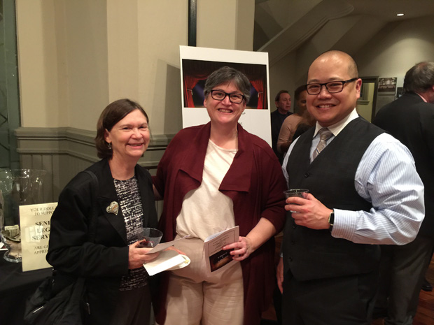From left, Harriet Robinson, Susan Francis and Joey Chen are all smiles during the Cabaret and Cabernet fundraiser. (Submitted photo by Katherine T. Sanzone)