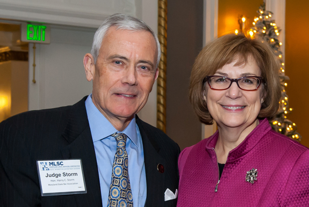 MSBA president Judge Harry Storm, left, and Maryland Court of Appeals Chief Judge Mary Ellen Barbera take time out for a photo during the annual awards reception. (Guill Photo Inc. submitted photo)