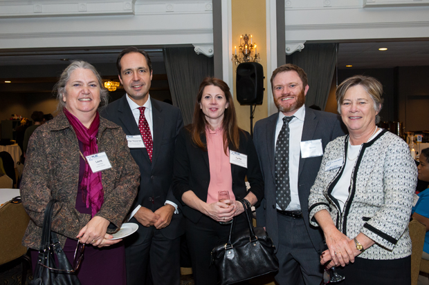 From left, Laure Ruth, of the Women's Law Center; Judge Douglas Nazarian, of the Court of Special Appeals; Lydia Lawless, of the Attorney Grievance Commission; Steven Klepper and MLSC board member Natalie McSherry, both of Kramon & Graham, enjoy their time during the MLSC's annual awards reception. (Guill Photo Inc. submitted photo)