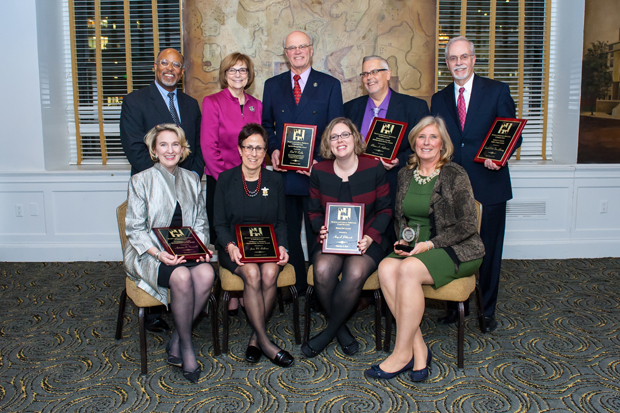 2016 awardees included, first row, Antonia Fasanelli, Joan Bellistri, Amy Petkovsek and Judge Karen Murphy Jensen; Second row, MLSC board chair Glenn Ivey, Maryland Court of Appeals Chief Judge Mary Ellen Barbera, Paul Carlin, Blaine Hoffmann and Gordon Krabbe of the Enoch Pratt Free Library. (Guill Photo Inc. submitted photo)