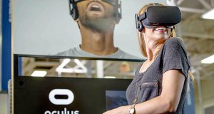This photo provided by Best Buy shows an example of Best Buy's demonstration for Facebook Inc.'s Oculus Rift headsets. (Courtesy of Best Buy via AP)