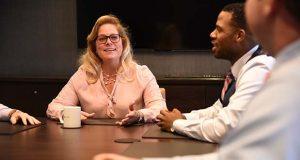 While digital savvy millennials prefer direct contact with wealth advisors only 40 percent of the time, UBS's Ellen Pierce said she finds value in face-to-face meetings when providing targeted financial advice. (The Daily Record / Maxmilian Franz)