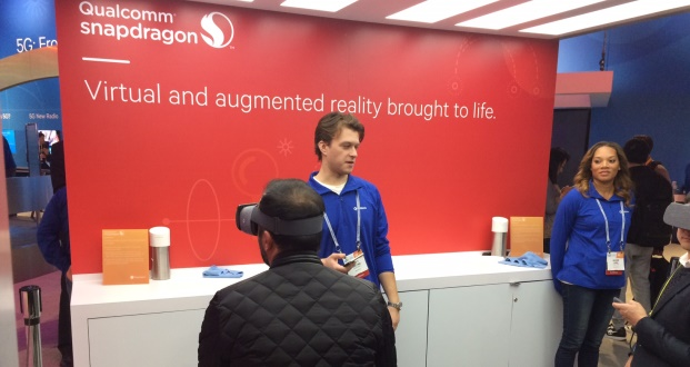 Demonstrations of virtual reality and augmented reality at Qualcomm's booth at CES 2017. (Courtesy of Frank Gorman)