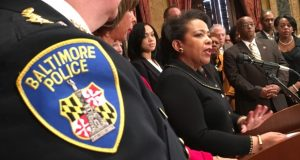 U.S. Attorney General Loretta Lynch speaks Thursday morning after the consent decree between Baltimore and the Justice Department was signed. (Maximilian Franz/The Daily Record)