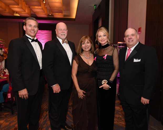 From left, Dean Cottrill, president of Coldwell Banker Residential Brokerage Mid-Atlantic, Maryland Del. Steve Arentz, R-Caroline, Cecil, Kent and Queen Anne's, Bosom Buddies co-founder and Coldwell Banker Agent Biana Arentz, Ball honoree Tanya Snyder and Gov. Larry Hogan attended the Bosom Buddies Ball to support breast cancer awareness. (Photo by Joe Andrucyk)