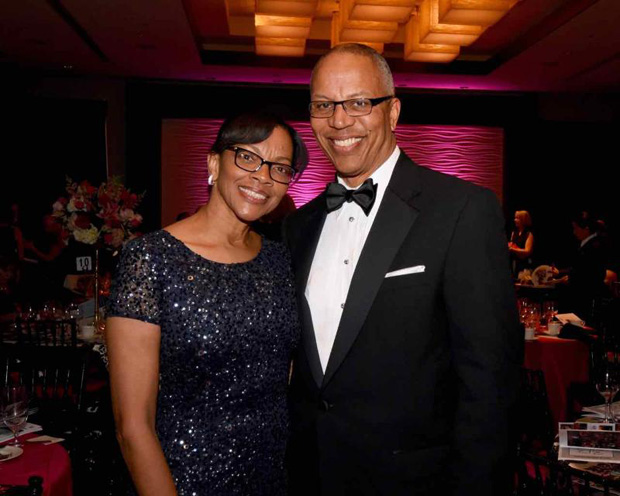 Lt. Governor Boyd Rutherford, right, and his wife, Monica, enjoy the evening of festivities during the 10th annual Bosom Buddies Ball at the Annapolis Westin hotel. (Photo by Joe Andrucyk)