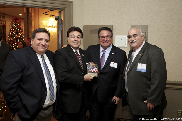 From left, Robert Moreno, the administrator of the U.S. Department of Commerce Minority Business Development Agency; Roger Campos, Maryland's Department of Housing and Community Development assistant secretary; Luis Borunda, Maryland's deputy secretary of state; and Del. Rick Metzgar, R-Baltimore County attended the Maryland Hispanic Chamber of Commerce's Business Awards Holiday Gala. (Photos by Beverlee Barthel Photography and the Maryland Hispanic Chamber of Commerce)