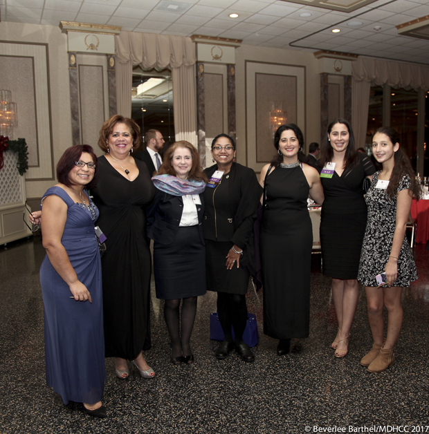 From left, Rocío Treminio-López, the mayor of Brentwood; María Rodriguez, Maryland's Hispanic Business Conference executive director; Gigi Guzman, the co-founder of the MDHCC; Del. Joseline Peña-Melnyk, D-Anne Arundel and Prince George's; Veronica Cool, founder of Cool & Associates LLC and a former MDHCC chairman; Martiza Hernandez, with Morgan Stanley; and Isabela Cool take time for a photo during the Maryland Hispanic Chamber of Commerce's Business Awards Holiday Gala. (Photos by Beverlee Barthel Photography and the Maryland Hispanic Chamber of Commerce)