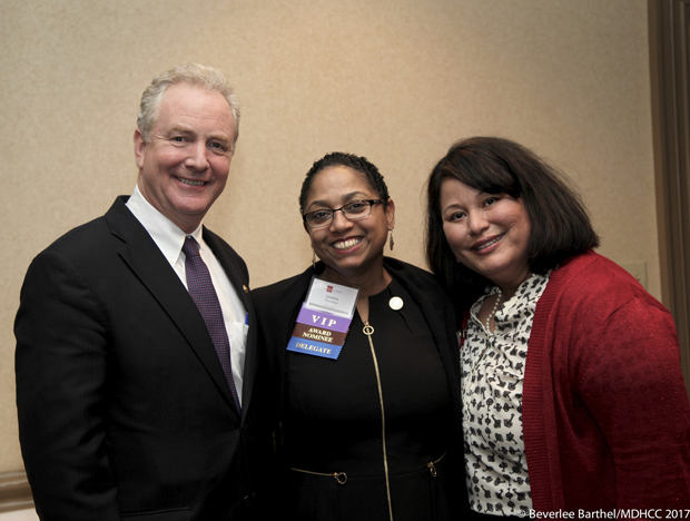 From left, U.S. Sen. Chris Van Hollen; Del. Joseline Peña-Melnyk, D-Anne Arundel and Prince George's; and Lillian Cruz, Van Hollen's deputy director of constituent services, enjoy their time at the Maryland Hispanic Chamber of Commerce's Business Awards Holiday Gala. (Photos by Beverlee Barthel Photography and the Maryland Hispanic Chamber of Commerce)