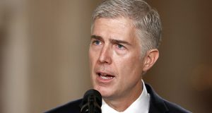 FILE - In this Jan. 31, 2017 file photo, Supreme Court Justice nominee Neil Gorsuch speaks in the East Room of the White House in Washington. (AP Photo/Carolyn Kaster, File)