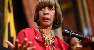 1.12.2017 BALTIMORE, MD- Mayor Catherine E. Pugh  joined by U.S. Attorney General Loretta E. Lynch to announce agreement on the Department of Justice Consent Decree concerning practices by the Baltimore Police Department. (The Daily Record/Maximilian Franz)