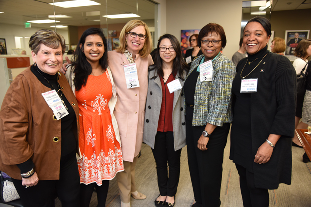 From left, Bonnie Heneson, president of Bonnie Heneson Communications; Sanchari Ghosh, a University of Maryland, Baltimore (UMB) pharmacy school student; Karen Singer, senior vice president, general counsel and secretary with Corporate Office Properties Trust; Fen Zheng, a UMB pharmacy school student; Margaret Hayes, with the dean's office of the UMB pharmacy school; and Jennifer Gray, of the Governor's Office of Community Initiatives, take time for a photo during the Path to Excellence networking event. (Photo by Maximilian Franz / The Daily Record)