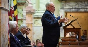 Gov. Larry Hogan gives his third State of the State speech Wednesday, with Senate President Thomas V. Mike Miller Jr. and House Speaker Michael E. Busch seated behind him. (Maximilian Franz)