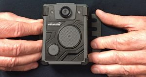 A chest-mounted body-worn camera.  (J.F. Meils/ Capital News Service via AP)