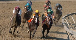 Bernardini, outside left, ridden Javier Castellano,  Sweetnorthernsaint, center, ridden by Kent Desormeaux,  along with Like Now, left front, ridden by Garrett Gomez and Hemingway's Key, along the rail, ridden by Jeremy Rose, round the final turn of the Preakness Stakes at Pimlico Race Course in Baltimore, Saturday, May 20, 2006. Bernardini won the race with Sweetnorthernsaint in second, Hemingway's Key came in third.  (AP Photo/Gail Burton)