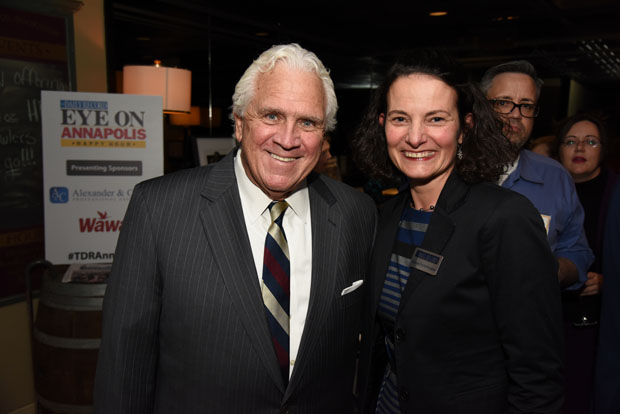 Maryland State Senate President Thomas V. Mike Miller Jr., left, and The Daily Record Publisher Suzanne Fischer-Huettner enjoy their time at The Daily Record's Eye on Annapolis Happy Hour event. (Photo by Maximilian Franz / The Daily Record)
