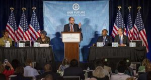 Former Labor Secretary Tom Perez, who is a candidate to run the Democratic National Committee, speaks during the general session of the DNC winter meeting in Atlanta, Saturday, Feb. 25, 2017. (AP Photo/Branden Camp)