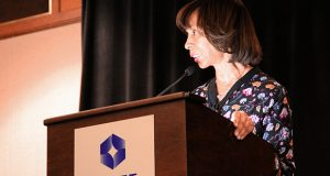 Mayor Catherine Pugh speaks in March. (The Daily Record / Adam Bednar)