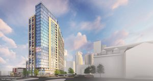 Rendering of 800 Fleet Street from Northwest view. (courtesy of Hord Colpan Macht)