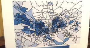 A map brought to a Baltimore City Council meeting Thursday by Unite Here shows hedge fund Oaktree Capital Management's loans are concentrated in African-American neighborhoods. (Adam Bednar/The Daily Record)